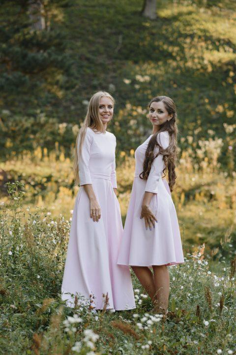 Rausva midi/maxi ilgio suknelė